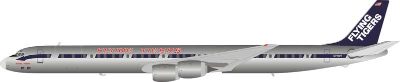 Flying Tigers DC-8-73CF N773FT Polished With Stand (1:200)