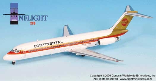 Continental DC-9-32 Red Meatball (1:200), InFlight 200 Scale Diecast Airliners Item Number IF932002