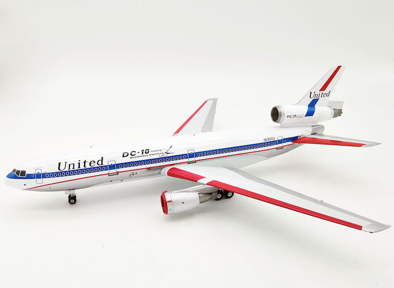 "United Airlines DC-10-10 N1801U Douglas Aircraft Logo"" Polished (1:200), InFlight 200 Scale Diecast Airliners Item Number IFDC10UA0718P"