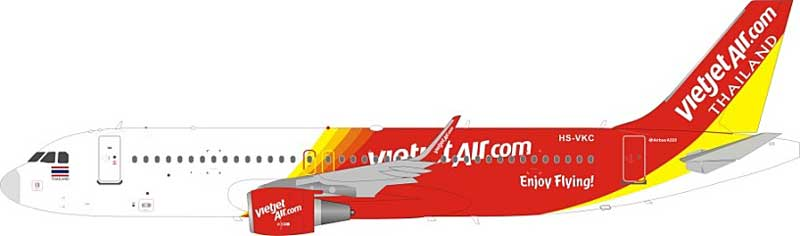 VietJet Air Thailand Airbus A320-200 HS-VKC (1:200) , InFlight 200 Scale Diecast Airliners Item Number JF-A320-003