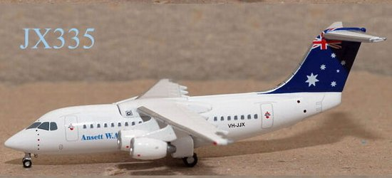 "Ansett W.A. BAe 146-200 ""Blue Tail"" (1:400), Jet X 1:400 Diecast Airliners Item Number JET335"