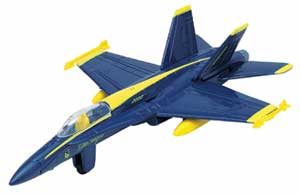 "F/A-18 Hornet Blue Angels (Approx. 6""), Motormax Diecast Item Number DC6-F18BLUE"