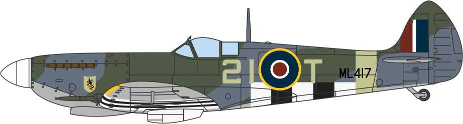 Supermarine Spitfire Mk.IXe 443 Squadron, Royal Canadian Air Force, 1944 (1:72) by Oxford Diecast 1:72 Scale Models