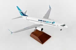 Westjet 737-800 with Gear & Wood Stand (1:100) by Skymarks Supreme Desktop Aircraft Models item number: SKR8258
