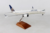 United 737MAX9 W/WOOD STAND & GEAR (1:100) by Skymarks Supreme Desktop Aircraft Models item number: SKR8275
