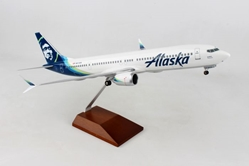 Alaska 737MAX9 With Wood Stand & Gear (1:100) by Skymarks Supreme Desktop Aircraft Models item number: SKR8278