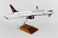 Air Canada 737MAX8 W/Wood Stand & Gear (1:100) by Skymarks Supreme Desktop Aircraft Models item number: SKR8279