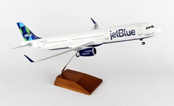 Jet Blue A321 (1:100) Wood stand and Gear by Skymarks Supreme Desktop Aircraft Models item number: SKR8321
