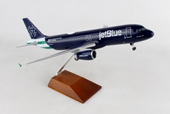JetBlue A320 NYPD W/WOOD STAND & GEAR (1:100) by Skymarks Supreme Desktop Aircraft Models item number: SKR8367