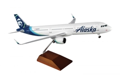 Alaska A321NEO W/Wood Stand & Gear (1:100) by Skymarks Supreme Desktop Aircraft Models item number: SKR8420