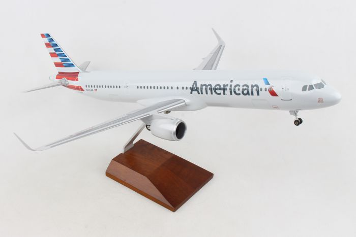 American A321Neo With Wood Stand & Gear 1:100 by Skymarks Supreme Desktop Aircraft Models item number: SKR8422