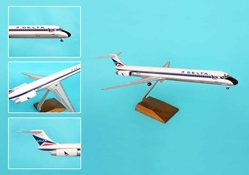 Delta MD-80 Widget Livery W/Wood Stand & Gear (1:100) by Skymarks Supreme Desktop Aircraft Models item number: SKR8602
