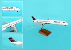 Delta MD-80 2007 Livery W/Wood Stand & Gear (1:100) by Skymarks Supreme Desktop Aircraft Models item number: SKR8607