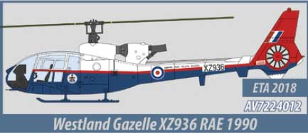 Westland Gazelle, RAE, 1990 (1:72) - Preorder item, order now for future delivery, Aviation72 Diecast Airlines Item Number AV72-24012