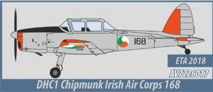 DHC1 Chipmunk, Irish Air Corps (1:72) - Preorder item, order now for future delivery, Aviation72 Diecast Airlines Item Number AV72-26017