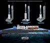 Delta II Rockets w/Launch Pads Set - Contains 3 Rockets (1:400) - DRW56394