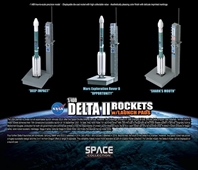 Delta II Rockets w/Launch Pads Set - Contains 3 Rockets (1:400)