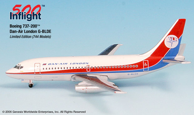 Dan Air London 737-200 (1:500), InFlight 500 Scale Diecast Airline models Item Number IF5732002