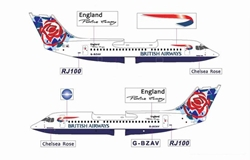 British Airways BAe-146-300 - G-BZAV Special Tail - Chelsea Rose (1:400), Jet X 1:400 Diecast Airliners Item Number JETBA003