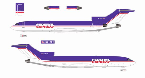 "Federal Express 727-700F N217FE ""Last 727 Built"" (1:200), Jet X 1:200 Scale Diecast Item Number JETVL012"