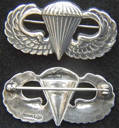 WWII Paratrooper Sterling Badge Simon Brothers, Weingarten Gallery Item Number P-2166