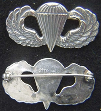 WWII Paratrooper Badge Sterling Silver pin back, Weingarten Gallery Item Number P-2173