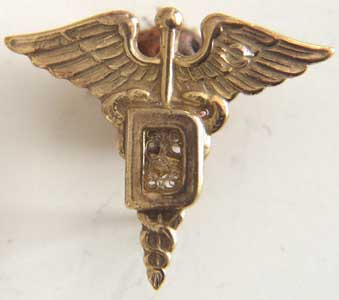 WWII Dentist Collar Insignia Sterling Gold Plate, Weingarten Gallery Item Number P-1158C