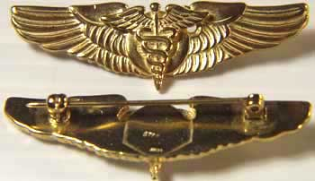 WWII Flight Surgeon shirt wings sterling w gold., Weingarten Gallery Item Number P-1178G