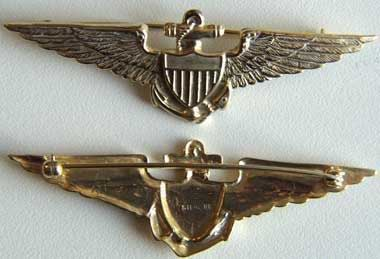 WW I Navy Pilot Wing Sterling w Gold, Weingarten Gallery Item Number P-1208
