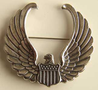 WWII Instructor Hat badge Sterling, Weingarten Gallery Item Number P-1238