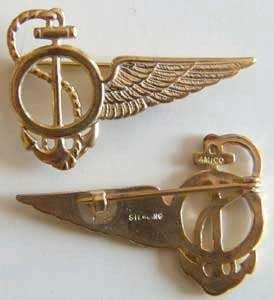 WWI Navy Observer Wing Sterling w Gold, Weingarten Gallery Item Number P-1269