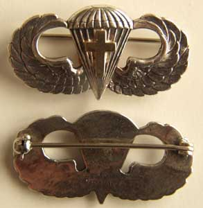 WW II Chaplain Paratrooper Wing w 14k Cross, Weingarten Gallery Item Number P-1272-14