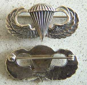 Paratrooper Badge Sterling, Weingarten Gallery Item Number P-1272