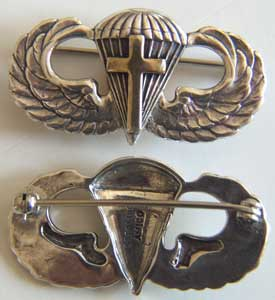 WW II Chaplain Paratrooper Wing Sterling, Weingarten Gallery Item Number P-1273