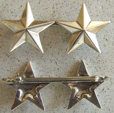 WWII 2 Star insignia Sterling Pin Back, Weingarten Gallery Item Number P-1316