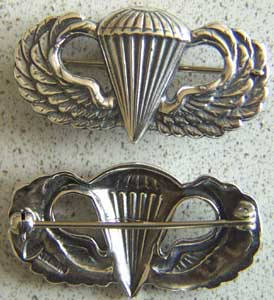 WWII Paratrooper Badge Sterling, Weingarten Gallery Item Number P-1325