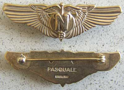WWII US Army Flight Nurse sterling w gold, Weingarten Gallery Item Number P-1508