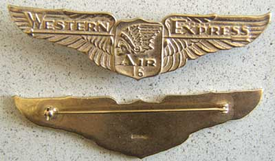 Western Air Express Number 16 Sterling w Gold, Weingarten Gallery Item Number P-1511