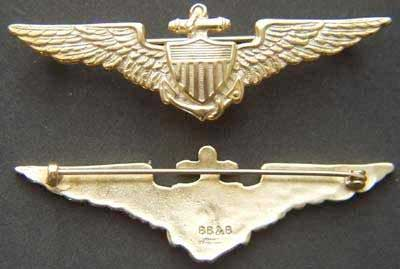 WWI US Navy Pilot wing sterling w gold plate BB&B, Weingarten Gallery Item Number P-1650