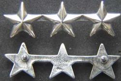 WWII 3 Star Collar Rank Sterling  Pin Back, Weingarten Gallery Item Number P-1664P