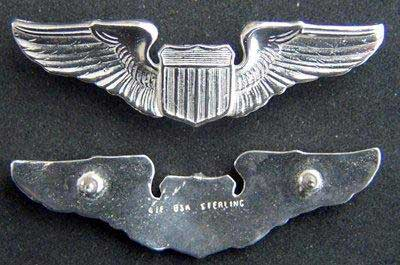 "US Air Force Pilot Wings Sterling Silver - 2""  for Summer Shirt, Weingarten Gallery Item Number P-1698"