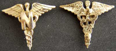 WWII Nurse Collar Insignia Sterling GP, Weingarten Gallery Item Number P-1721
