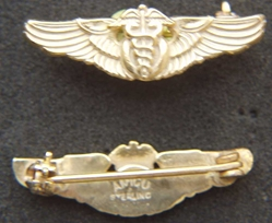 WW II Army Flight Surgeon Wings Sterling/ Gold Overseas Hat, Weingarten Gallery Item Number P-2088G
