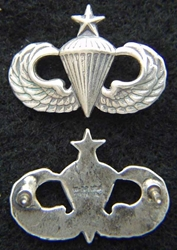 Senior Paratrooper Mess Dress Badge Sterling Oxidized, Weingarten Gallery Item Number P-2124X