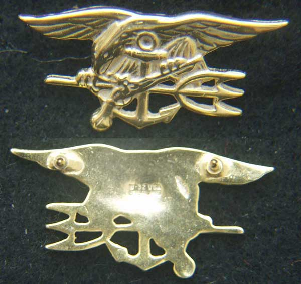 US Navy Seals Insignia Sterling / Gold Plate Mess Dress, Weingarten Gallery Item Number P-2145