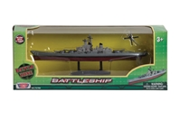 "Battleship, 9"" long, with helicopter, Motormax Diecast Item Number RB76786"