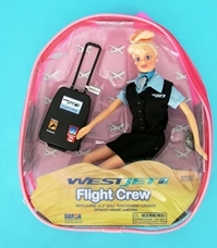 Westjet Flight Attendant Doll W/ Luggage - Blonde, Daron Toys Item Number DA1176