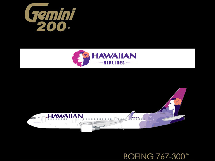 Hawaiian 767-300W N580HA (1:200) by GeminiJets 200 Diecast