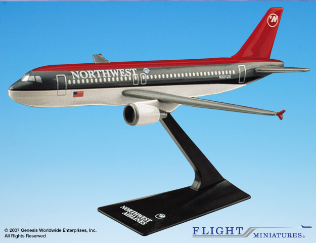 Northwest A320-200 (Old Colors) (1:200), Flight Miniatures Snap-Fit Airliners, Item Number AB-32020H-008