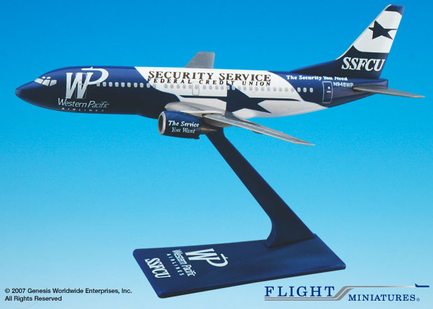 Western Pacific SSFCU 737-300 (1:200), Flight Miniatures Snap-Fit Airliners, Item Number BO-73730H-009